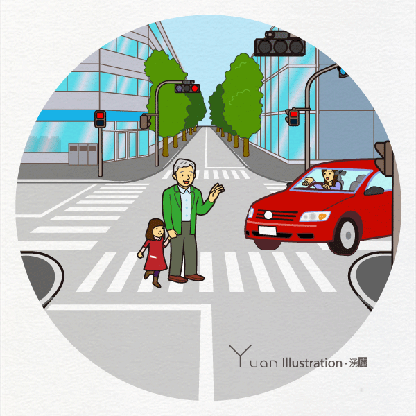 Title : Looking out for cars in crossing the street / 横断する際は車に気をつけて Credit : Yuan Date : Junary 2013 art : Disital