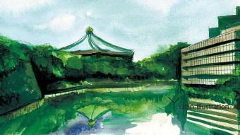 Title : Nippon Budokan / 日本武道館 「清水門より武道館を臨む」 Illustrator / Printing designer : Junichi Shimura Producer : M.M Date : August 2008 Art : Water color / Sketching