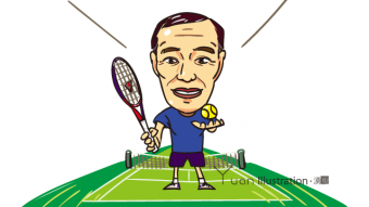 Title : Enjoy tennis! Player's portrait / テニスを楽しもう!楽しむ人の似顔絵 *It is held in a private collection of my friend. Illustrator : Junichi Shimura Date : March 2015 Art : Degital Media : Change of address card