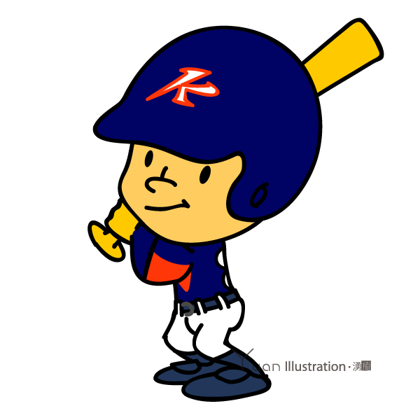 Pose1 : Title : Kunitachi Kings Baseball team character / 国立キングス チームキャラクター Illustrator : Junichi Shimura / Producer : M.Saito / *It is held in a private collection of Kunitachi Kings. Aate : 2010 Art : Disital