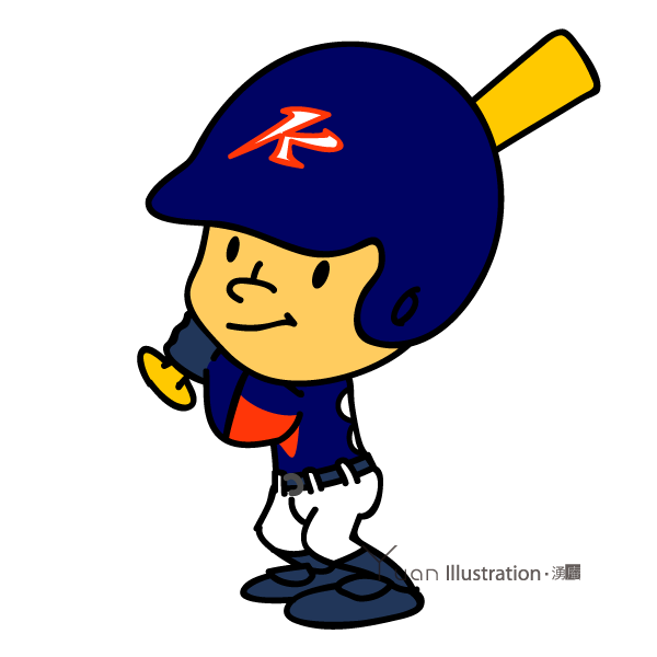 Pose2 : Title : Kunitachi Kings Baseball team character / 国立キングス チームキャラクター Illustrator : Junichi Shimura / *It is held in a private collection of Kunitachi Kings. Aate : 2010 Art : Disital